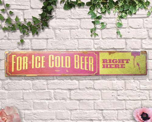 Ice Cold Beer Sold Here Aged Wooden Sign